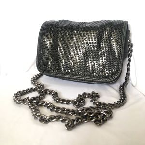 Badgley Mischka Metal Mesh Leather Evening Bag